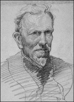 A drawing of T.W. Edgeworth David, 1908, by the expedition artist