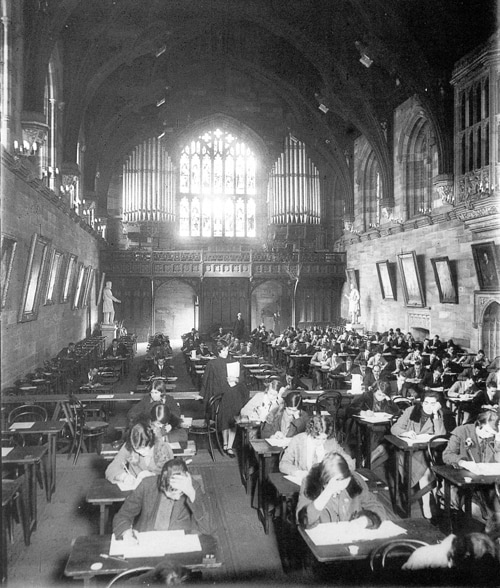 From the Harold Cazneaux Collection of an exam taking place in the Great Hall in 1927