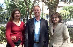 Sydney University scientists Dr Maria Sdrolias and Associate Professor Dietmar Müller, with Dr Carmen Gaina