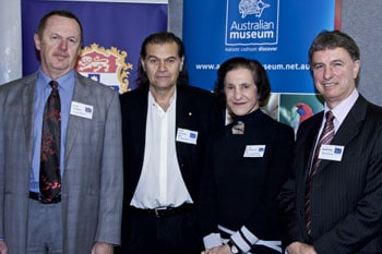 Science in the City launch: Mr Frank Howarth, Director of Australian Museum; Mr Brian Sherman, President of the Australian Museum Trust; Her Excellency Professor Marie Bashir, Chancellor of the University of Sydney and Professor David Day, Dean of Science.