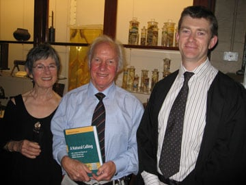 At the book launch: Mrs Hilary Larkum, wife of Professor Tony Larkum, who read from the letters in 'A Natural Calling', Professor Tony Larkum, author of the new book, and Dr Michael Charleston, Senior Lecturer in Bioinformatics at the University of Sydney, who played Charles Darwin and William Darwin Fox in readings from the new book.