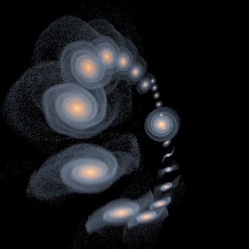 A simulation of how Triangulum will eventually join its massive neighbour Andromeda, contributing to the ongoing formation of the Andromeda Galaxy. The image is a stroboscopic projection of a high resolution numerical simulation of a possible orbit of the Triangulum galaxy around Andromeda, that reproduces much of the observed details of these galaxies.