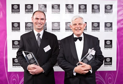 Honorary Professor Bruce Sutton (right), from the Faculty of Agriculture, Food and Natural Resources, and Associate Professor Greg Leslie (left), from UNSW, won the 2010 Eureka Prize for Water Research and Innovation. Photo credit: Australian Museum Eureka Prizes and 247 Studios.