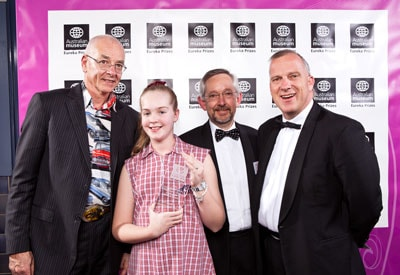 Lily Colmer, winner of the Primary School category of the University of Sydney Sleek Geeks Eureka Prize 2010, with (left to right) Dr Karl Kruszelnicki, Professor Trevor Hambley, Dean of the Faculty of Science, and Dr Michael Spence, Vice-Chancellor of the University of Sydney.