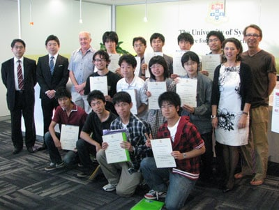 The group of physics and maths students from Tohoku University with Professor Hideo Kozono (far left), Geoff Hegarty (standing third from left) and Cristina Leontini (standing second from right) from the Centre for English Teaching, and Dr Martin Wechselberger (far right) from the School of Mathematics and Statistics.