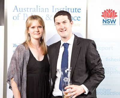 Dr Richard Payne, from the School of Chemistry, has won a 2010 NSW Young Tall Poppy Science Award. Pictured with Dr Alison Findlay from Pharmaxis. Photo credit: 247 Studios.