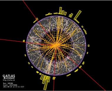 University of Sydney scientists working with an international team using the Large Hadron Collider at CERN in Geneva, Switzerland, have made an important step towards the discovery of the Higgs boson. Image shows the central part of the ATLAS detector with four muons (red lines) shown emerging from a collision at the centre.