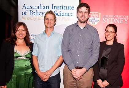 University of Sydney Young Tall Poppy Science Award winners: (left to right) Dr Michelle Peate, from the School of Psychology; Dr Peter Liddicoat, from the Australian Centre for Microscopy and Microanalysis; Dr Boris Kuhlmey, from the School of Physics; and Dr Deanna D'Alessandro, from the School of Chemistry.