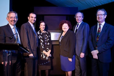 CAASTRO launch: (l-r) Professor Trevor Hambley (Dean, Faculty of Science, University of Sydney), Professor Bryan Gaensler (Director of CAASTRO), Her Excellency Professor Marie Bashir (Governor of NSW and Chancellor of the University of Sydney), Professor Margaret Sheil (CEO of the Australian Research Council), Dr Alan Finkel (Chair of the CAASTRO Advisory Board) and Professor Lister Staveley-Smith (Deputy Director of CAASTRO).