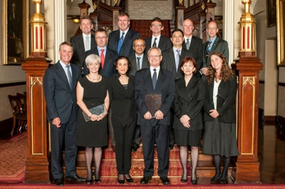 Professor Peter Robinson (centre) with the other NSW Science and Engineering Award winners and The Hon Andrew Stoner (front row, far left), Deputy Premier of NSW and Minister for Trade and Investment, Her Excellency Professor Marie Bashir (front row, third from left), Governor of NSW, and Professor Mary O'Kane (front row, second from right), NSW Chief Scientist and Engineer.