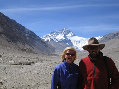 Professor Jonathan Aitchison and Dr Aileen Davis, a geologist who now teaches at Monte St Angelo Mercy College, standing in front of the north face of Mount Everest.