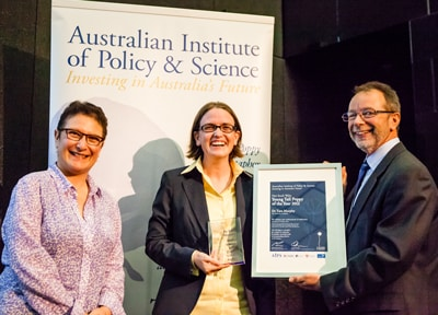 Dr Tara Murphy (centre), from the School of Physics, won the NSW Young Tall Poppy of the Year Award. Presented by Professor Maria Kavallaris (left), from the NSW Young Tall Poppy Selection Committee and the Children's Cancer Institute Australia for Medical Research.