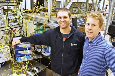 Dr Jochen Schroeder (right) has created and applied a new functionality for Finisar's range of WaveShaper Programmable Optical Processors that allows light to be split in extremely sophisticated ways. Dr Michaël Roelens (left) developed the technology for the first WaveShaper product around four years ago.