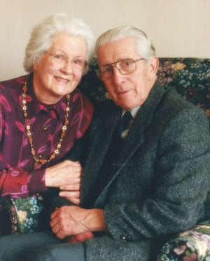 The retired Professor Walter Stibbs, at age 80, with his wife Margaret Stibbs in June 1999.
