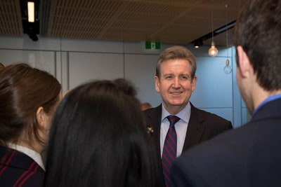 The Hon Barry O'Farrell, NSW Premier, welcomes students to the International Science School at the University of Sydney.