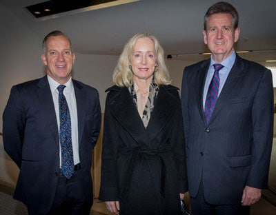 Officially opening the International Science School (left to right): Professor Michael Spence, Vice-Chancellor of the University of Sydney, Belinda Hutchinson, Chancellor of the University of Sydney, and The Hon Barry O'Farrell, NSW Premier.