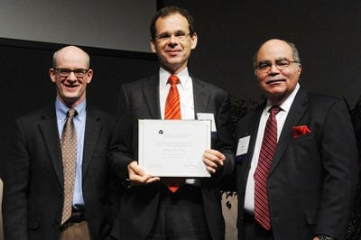 Professor Tony Weiss (centre) is the only Australian inducted into the College of Fellows of the American Institute for Medical and Biological Engineering (AIMBE).