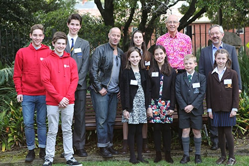 The 2015 University of Sydney Sleek Geeks Science Eureka Prize finalists with Professor Trevor Hambley, Dean of Science and the Sleek Geeks, Dr Karl and Adam Spencer.