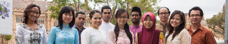 Students at the launch of the centre. Front row, from left to right: Meganingrum Tokhman (Indonesia), Tu Nguyen (Vietnam), Soimart Rungmanee (Thailand), Yu Nandar Aung (Myanmar), Norafizah Haji Zaine (Brunei), Michelle Marie Malano (Philippines). Back row, from left to right:Acacio Angel (Timor Leste), Aqeel Hanif Nomanbhoy(Singapore), Sahul Hamid (Malaysia), Serey Rotha Ken (Cambodia), Oulavanh Keovilignavong (Laos)