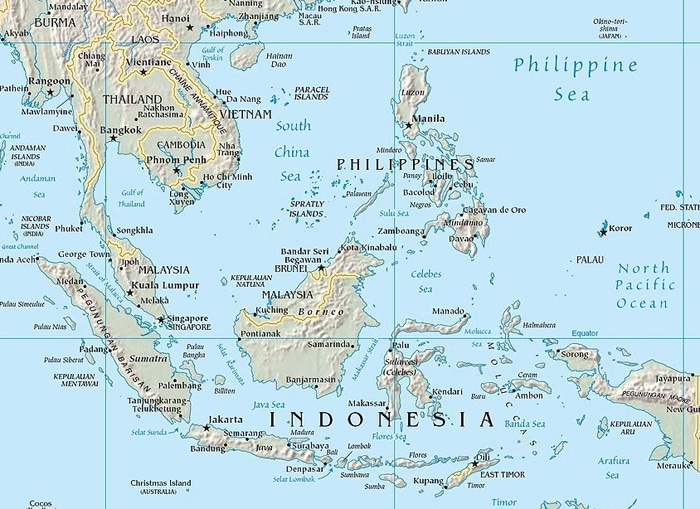 A map of the areas that make up Southeast Asia