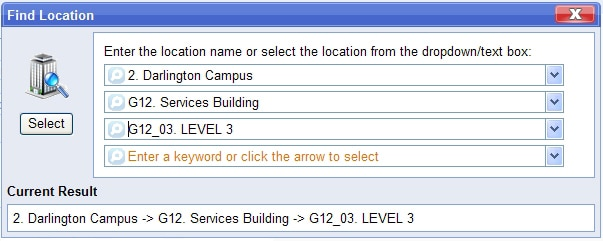 Location search box from RiskWare